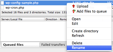 Renaming the WP-config.php file