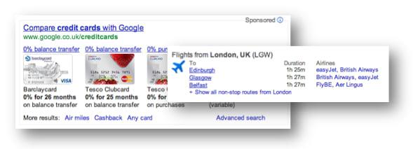 Google credit cards, flights