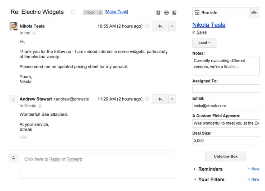 streak crm email