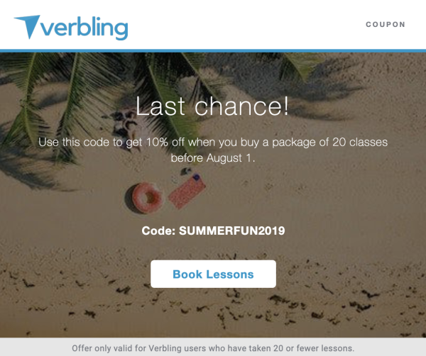 bf940a35726eb How to Get 10% Off Lesson Packages Before August 1st | Verbling