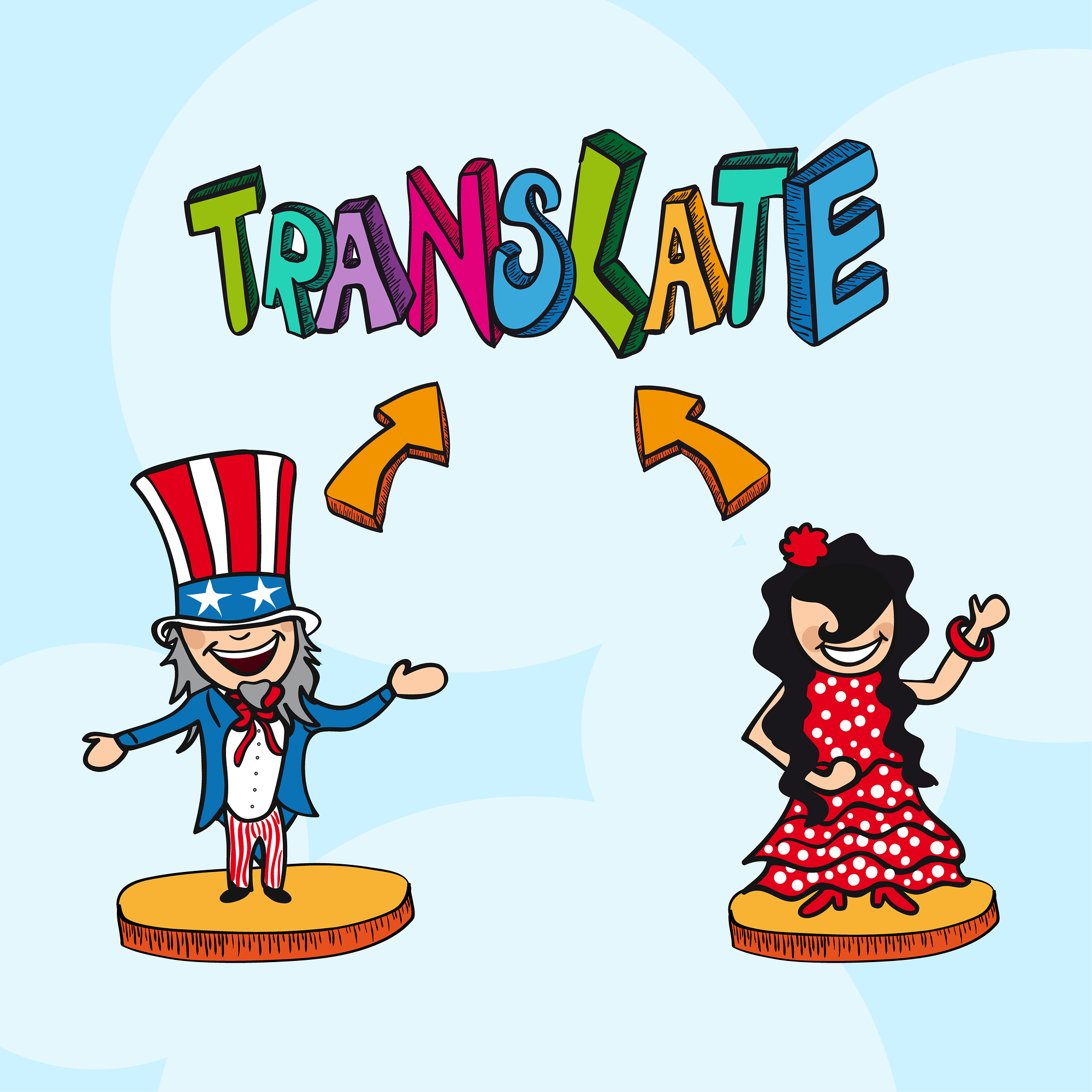 Translate concept american man and spanish woman cartoon illustration. Vector file layered for easy editing.