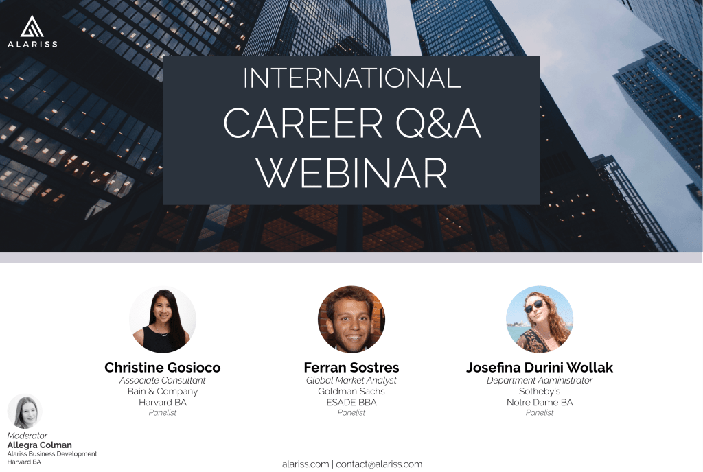 Career Q&A webinar poster, with one picture for each of the three international candidate panelists.