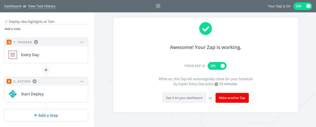 My Zapier Zap configuration
