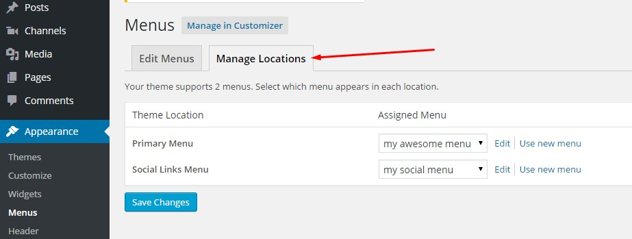 manage locations of custom menus