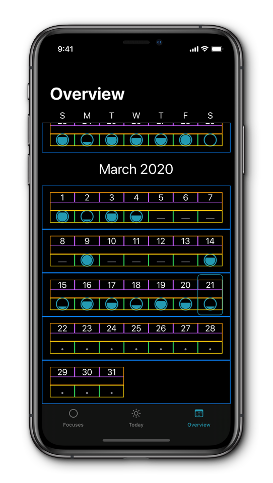 Sreenshot of Focuses calendar with boxes around elements