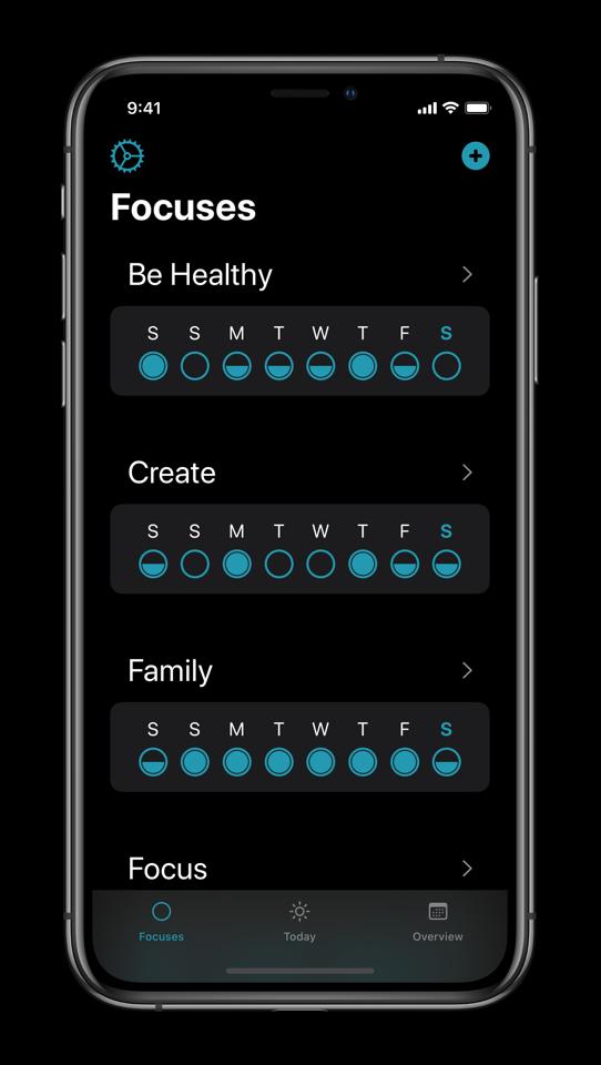 Screenshot of the Focuses app