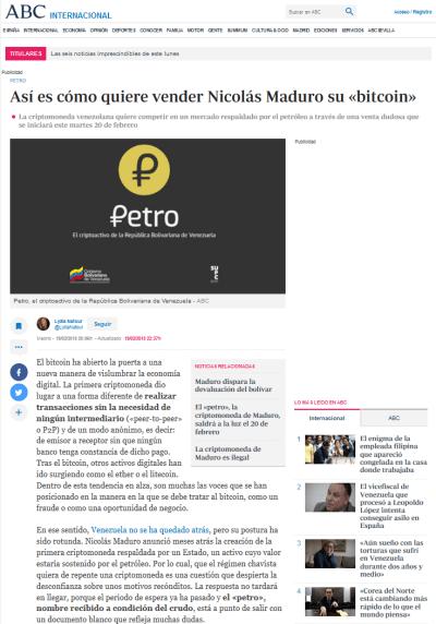 Imagen del artículo sobre Petro en ABC