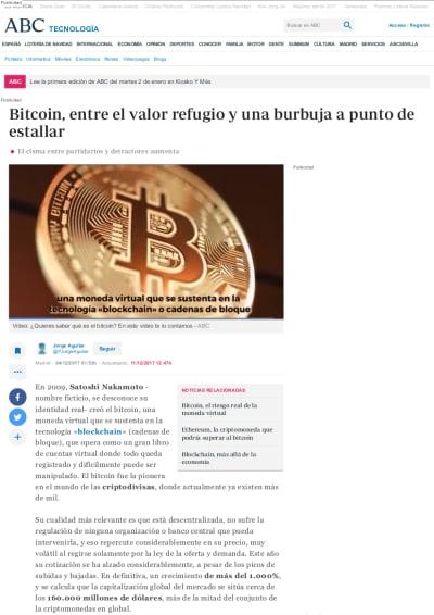 Captura del artículo sobre Bitcoin en ABC