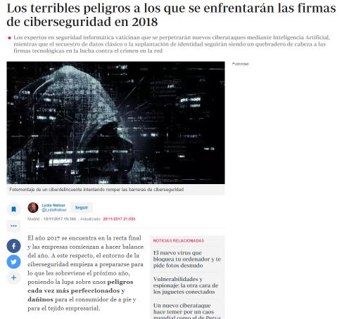 Predicciones sobre ciberseguridad 2018