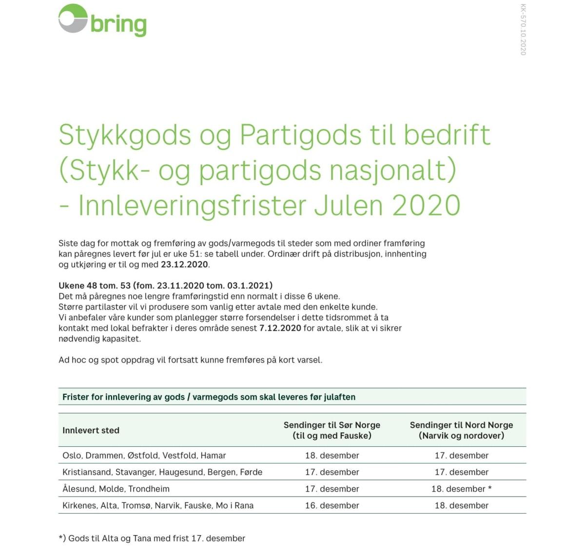 Innleveringsfrister stykk- og partigods julen 2020