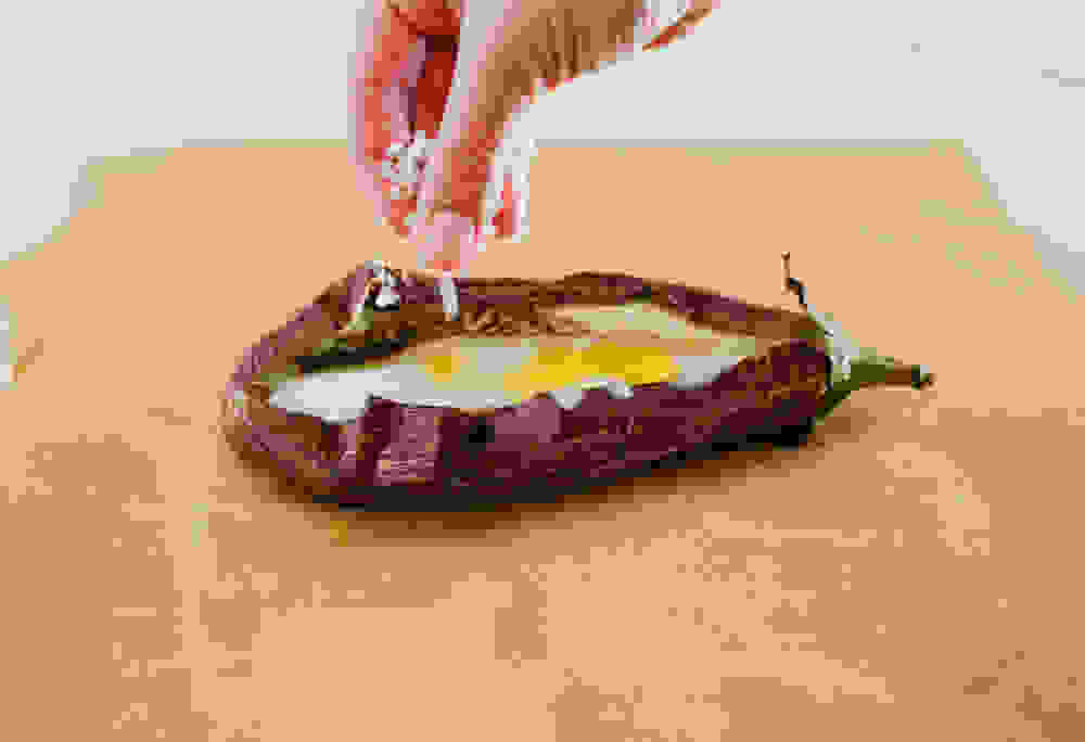 sparkling salt on a roasted eggplant