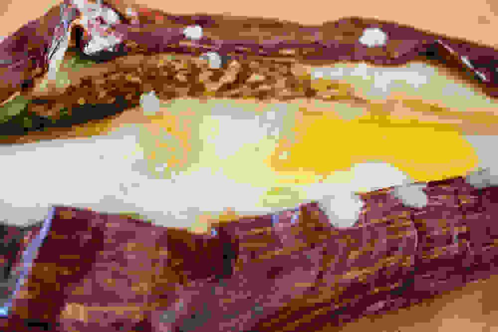 closeup shot of the roasted eggplant with oconut yogurt