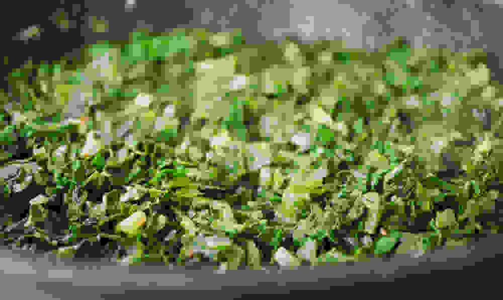 chopped greens sauteed in the pan