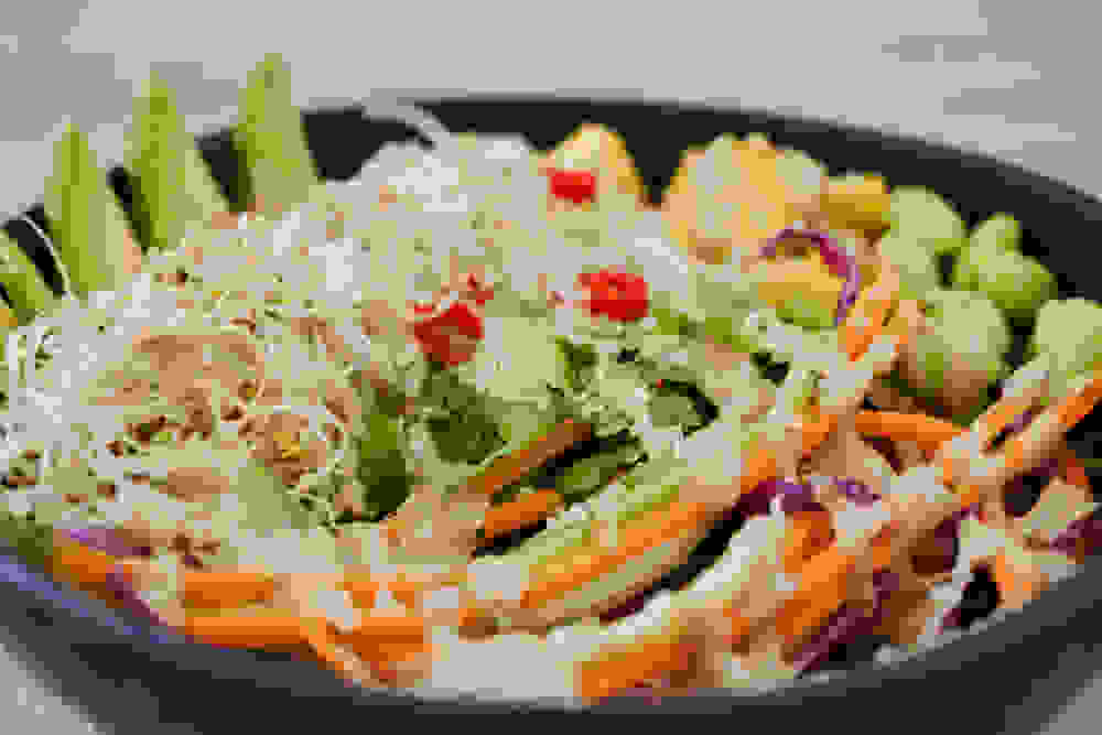 closeup of spring roll salad with tahini dressing on top