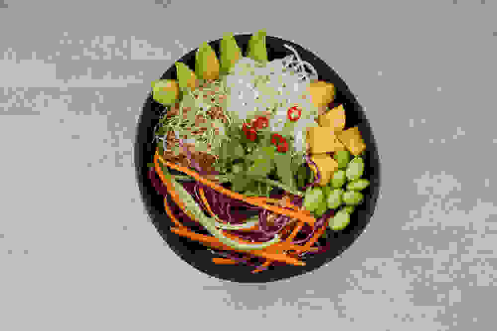 spring roll salad flat lay picture