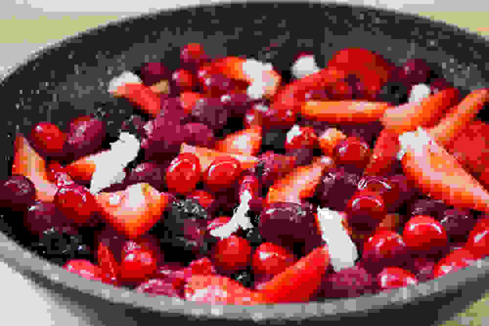 berries with coconut oil