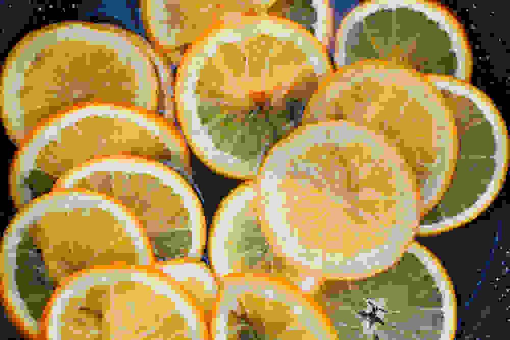 orange slice in a pan