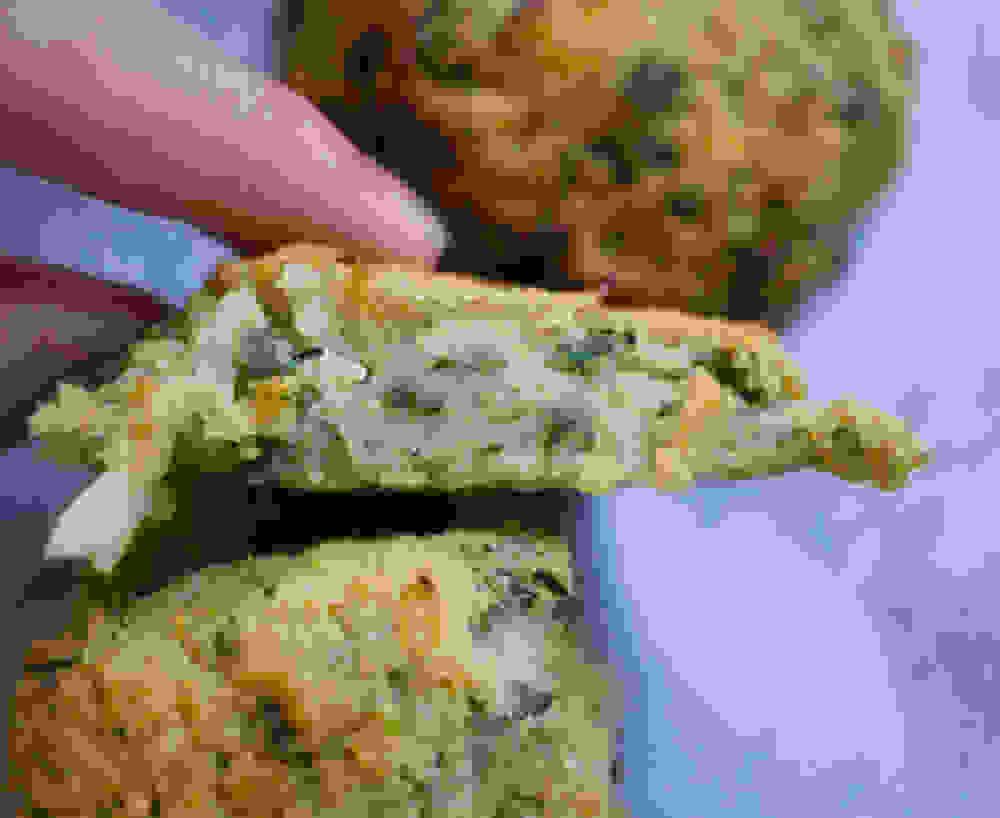 Oven Baked Vegan GF Cauliflower Patties cut to half