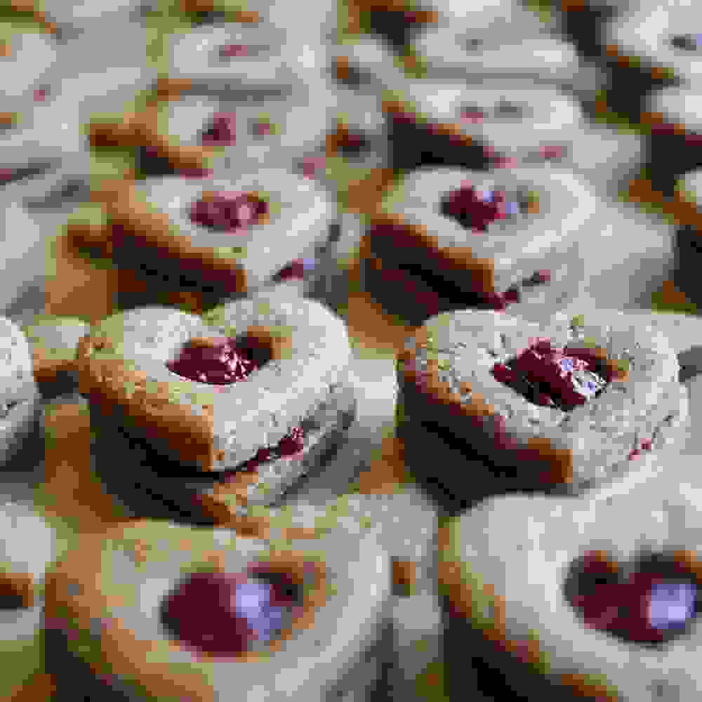 heart shaped linzer cookies with jam