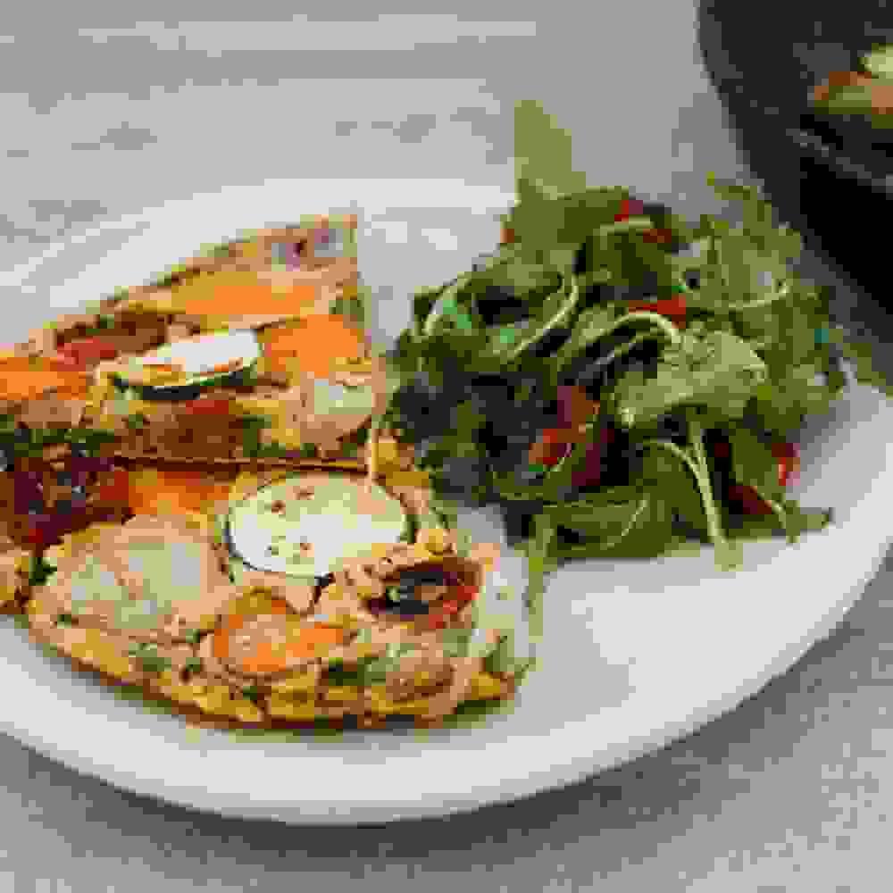 vegan lentil frittata and arugula side salad