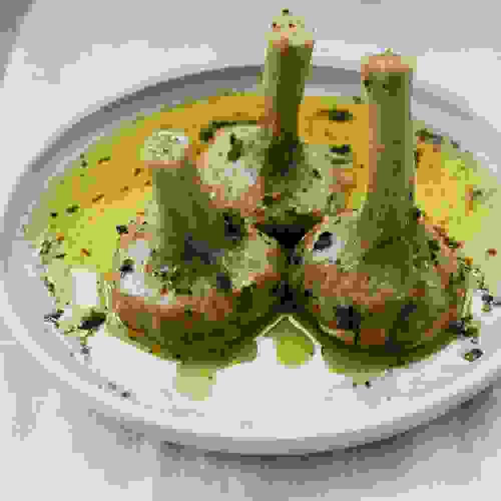 Artichoke (Carciofi) Alla Romana ready to be served