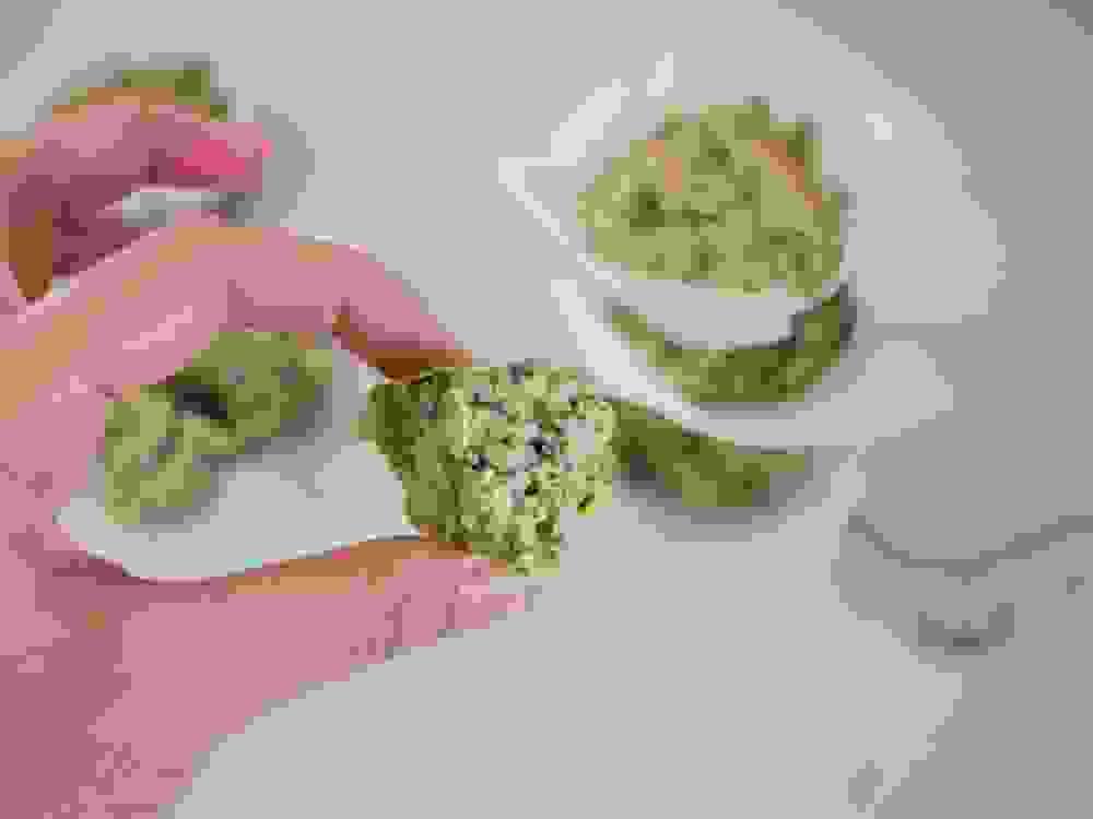 מחזיקה חתיכה של מאפין ירוק