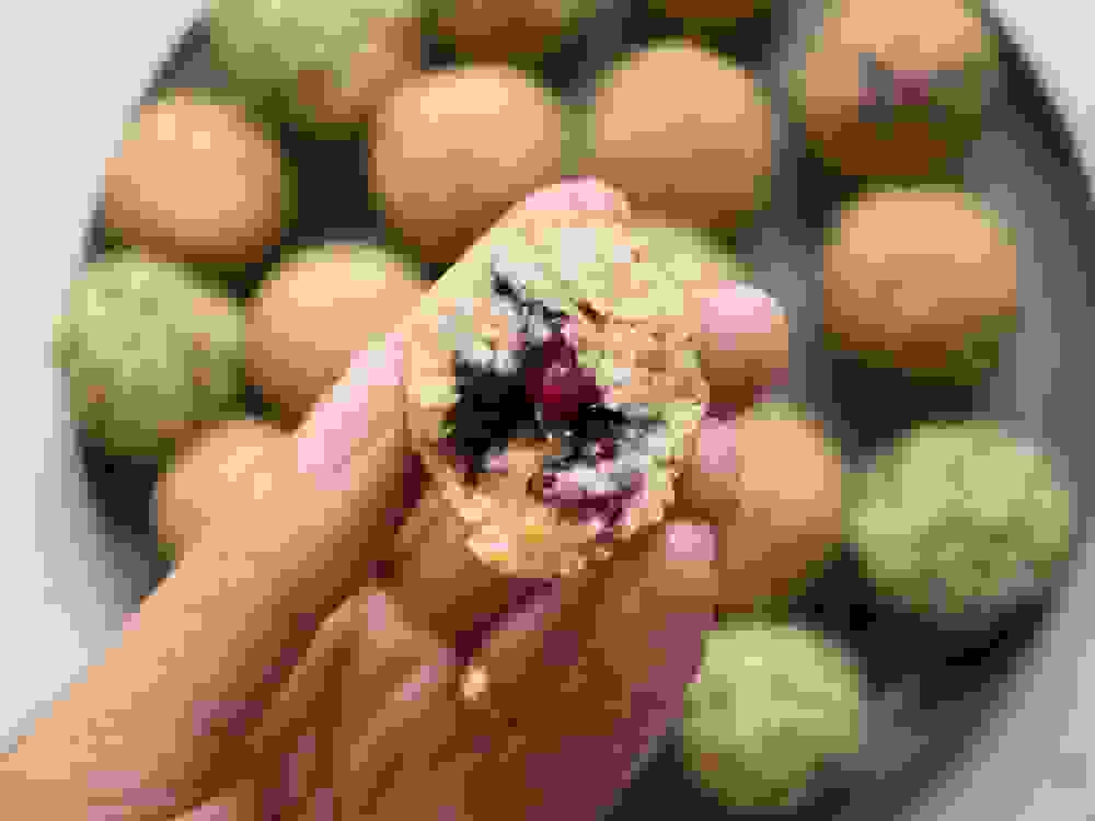 halved Peanut-Butter Berries Bliss Balls