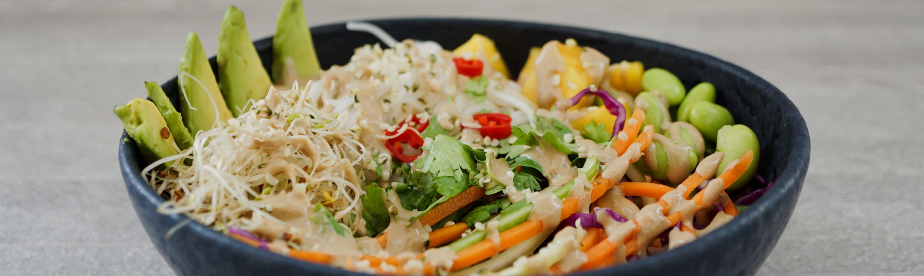 spring roll salad with tahini dressing on top
