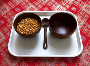 Transferring corn kernels with a spoon
