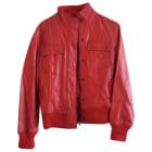 Blouson en cuir MANGO Rouge, bordeaux