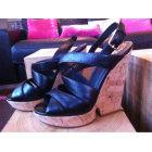 Sandales compensées SAINT LAURENT Noir