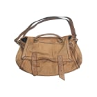 Leather Handbag MAJE Beige, camel
