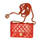 Leather Clutch CHANEL Red, burgundy