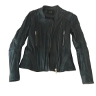 Leather Zipped Jacket MAJE Gray, charcoal