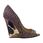 Escarpins à bouts ouverts JIMMY CHOO Coarse Glitter; golden