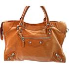 Leather Handbag BALENCIAGA City Orange