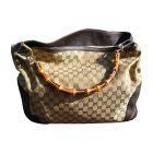 Leather Handbag GUCCI Bambou Beige, camel