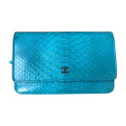 Leather Clutch CHANEL Blue, navy, turquoise