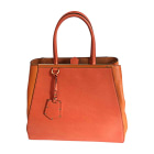 Leather Handbag FENDI 2Jours Orange