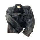Leather Zipped Jacket MAJE Blue, navy, turquoise