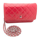Leather Clutch CHANEL Wallet-On-Chain Red, burgundy