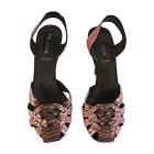 Sandales à talons PRADA Marron et rose