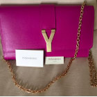 Leather Clutch SAINT LAURENT Y Pink, fuchsia, light pink
