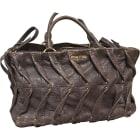 Leather Handbag MIU MIU Taupe violine