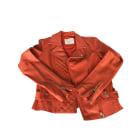 Leather Zipped Jacket MAJE Corail brique