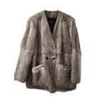 Manteau en fourrure MAJE Gris, anthracite