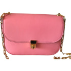 Leather Shoulder Bag VALENTINO Glam lock Pink, fuchsia, light pink