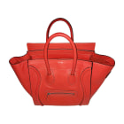 Sac à main en cuir CÉLINE Luggage Rouge corail