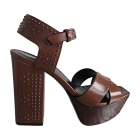 Sandales compensées SAINT LAURENT Marron