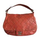 Leather Handbag CHANEL Red, burgundy